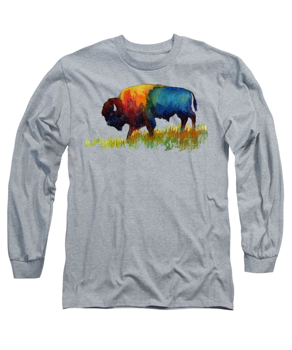 Bison Long Sleeve T-Shirt featuring the painting American Buffalo III by Hailey E Herrera