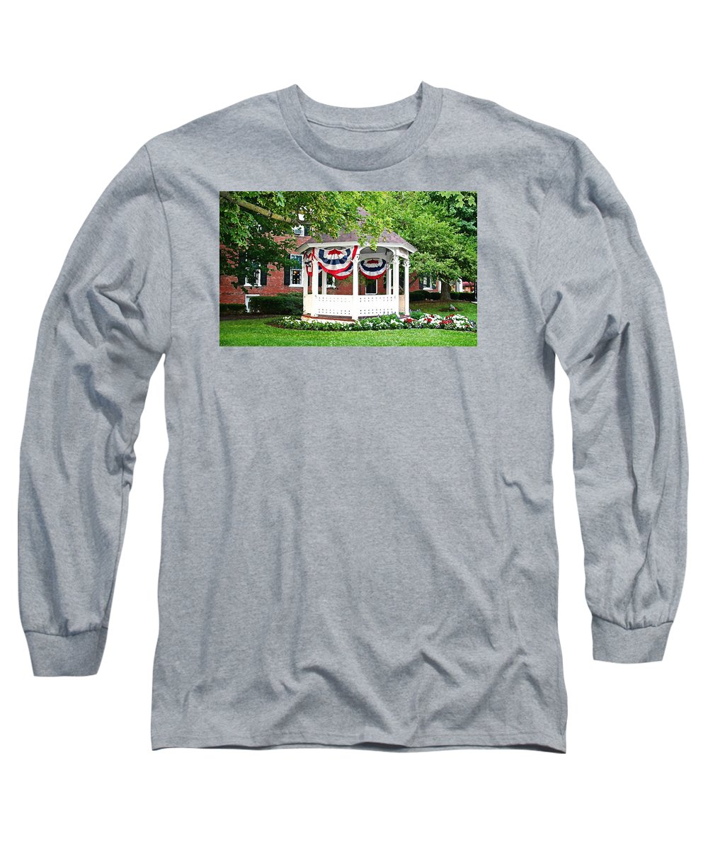 Gazebo Long Sleeve T-Shirt featuring the photograph American Gazebo by Margie Wildblood