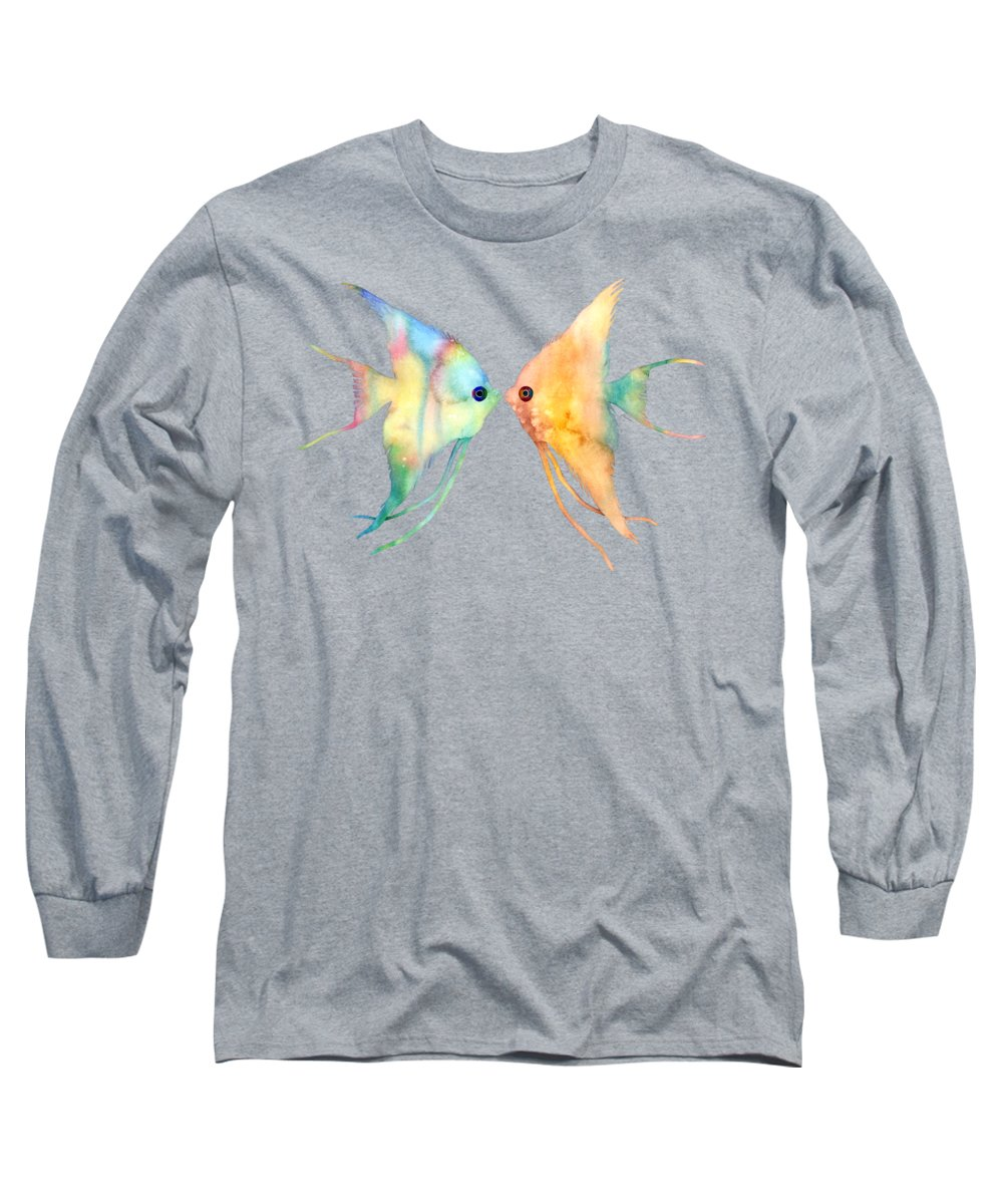 Fish Long Sleeve T-Shirt featuring the painting Angelfish Kissing by Hailey E Herrera