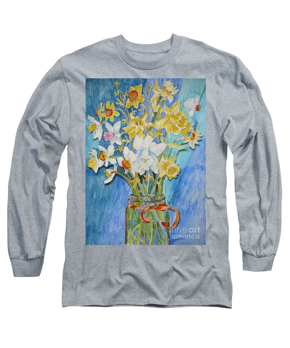 Flowers Long Sleeve T-Shirt featuring the painting Angels Flowers by Jan Bennicoff