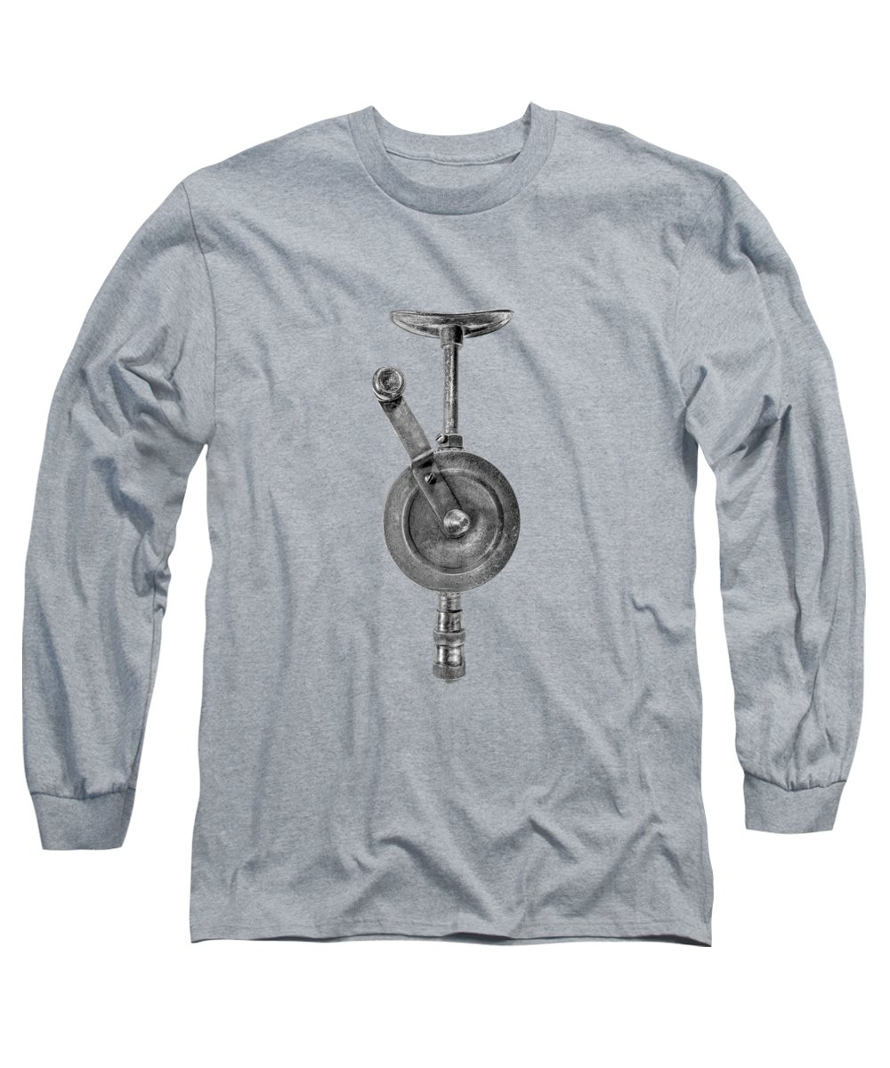 Antique Long Sleeve T-Shirt featuring the photograph Antique Shoulder Drill Front Bw by YoPedro