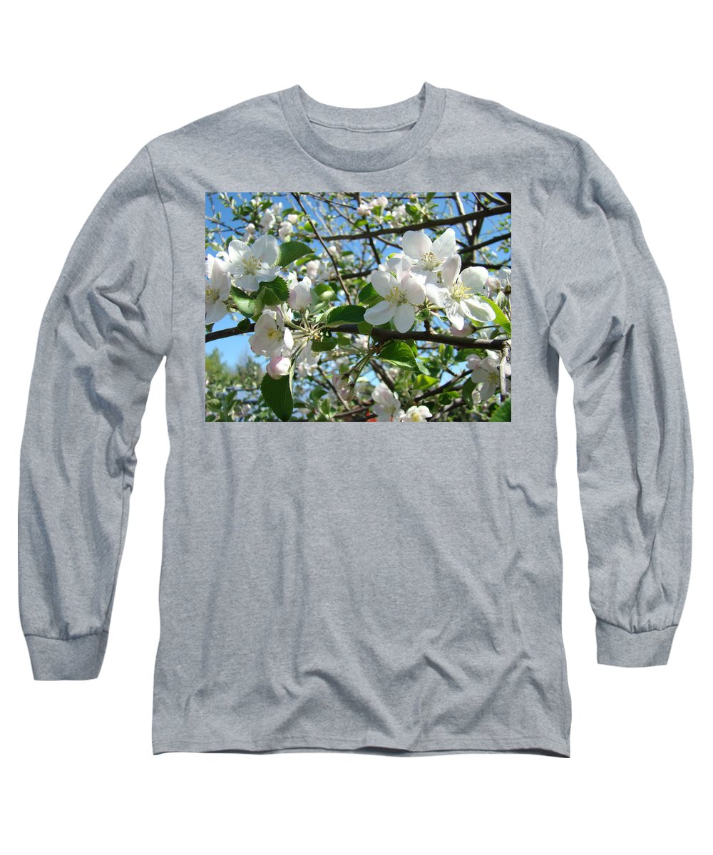 �blossoms Artwork� Long Sleeve T-Shirt featuring the photograph Apple Blossoms Art Prints 60 Spring Apple Tree Blossoms Blue Sky Landscape by Baslee Troutman