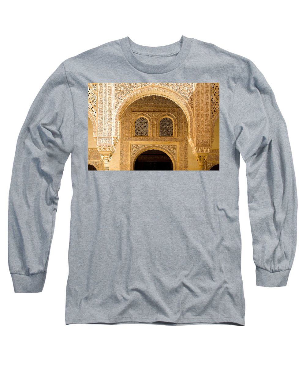 Cuarto Long Sleeve T-Shirt featuring the photograph Arabesque Ornamental Designs At The Casa Real In The Nasrid Palaces At The Alhambra by Mal Bray