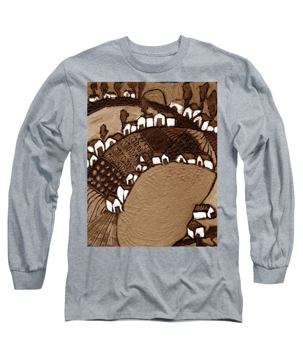 Pond Long Sleeve T-Shirt featuring the painting Around The Pond Sepia by Wayne Potrafka