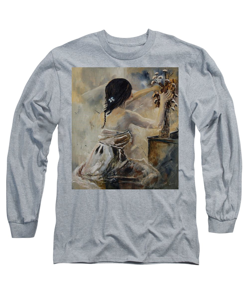 Girl Long Sleeve T-Shirt featuring the painting Arranging Flowers by Pol Ledent