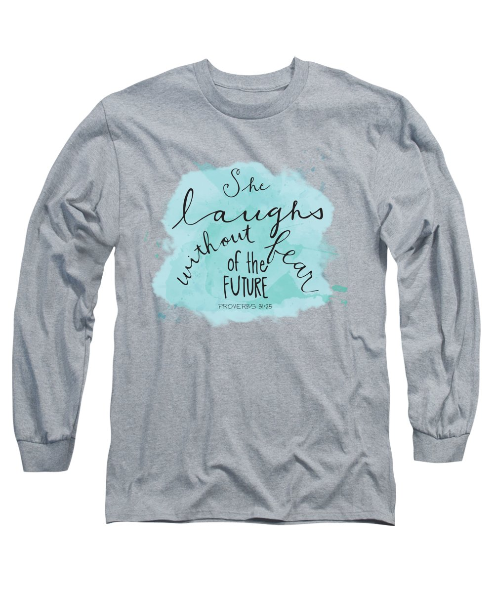 Faith Based Art Long Sleeve T-Shirt featuring the painting She Laughs by Nancy Ingersoll