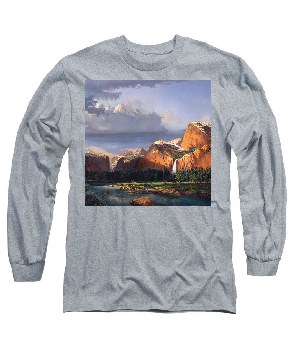 American Long Sleeve T-Shirt featuring the painting Deer Meadow Mountains Western Stream Deer Waterfall Landscape Oil Painting Stormy Sky Snow Scene by Walt Curlee