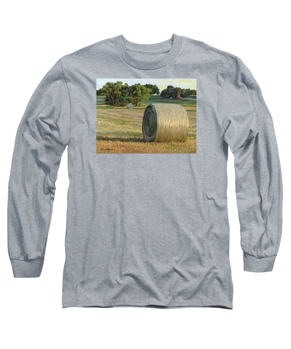 Landscape Long Sleeve T-Shirt featuring the painting August Bales by Bruce Morrison