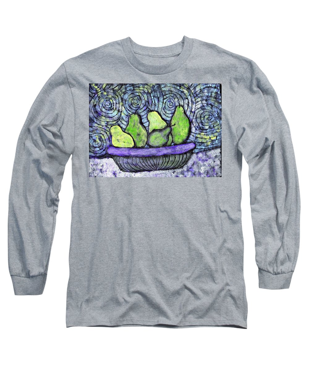 Food Long Sleeve T-Shirt featuring the painting August Pears by Wayne Potrafka