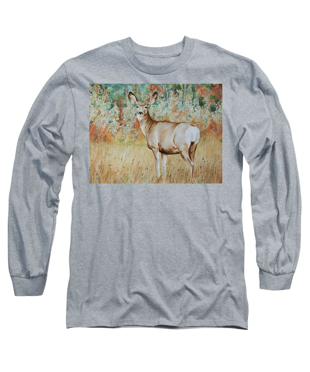 Wildlife Long Sleeve T-Shirt featuring the painting Autumn Beauty- Mule Deer Doe by Elaine Booth-Kallweit
