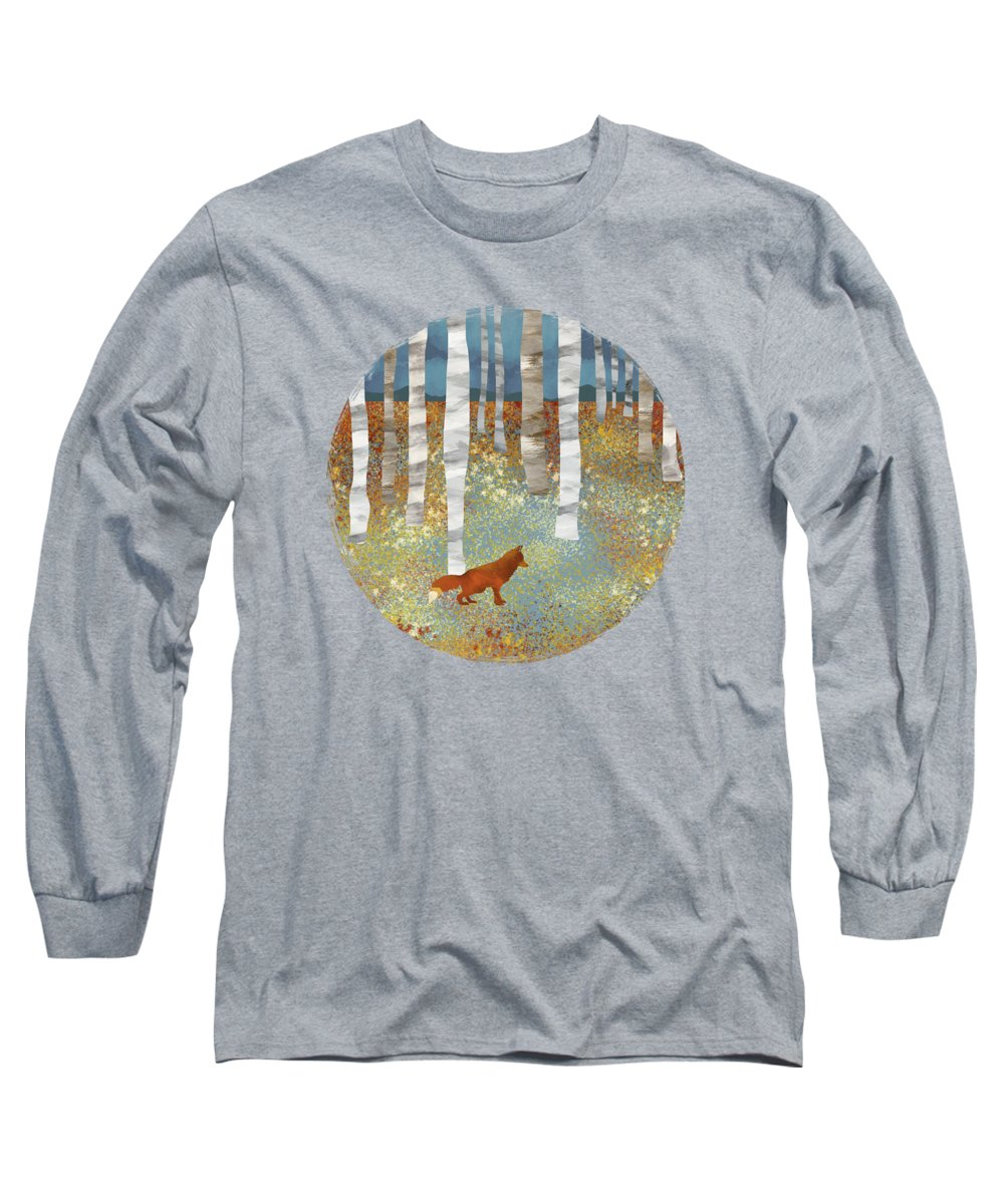 Autumn Long Sleeve T-Shirt featuring the digital art Autumn Fox by Spacefrog Designs