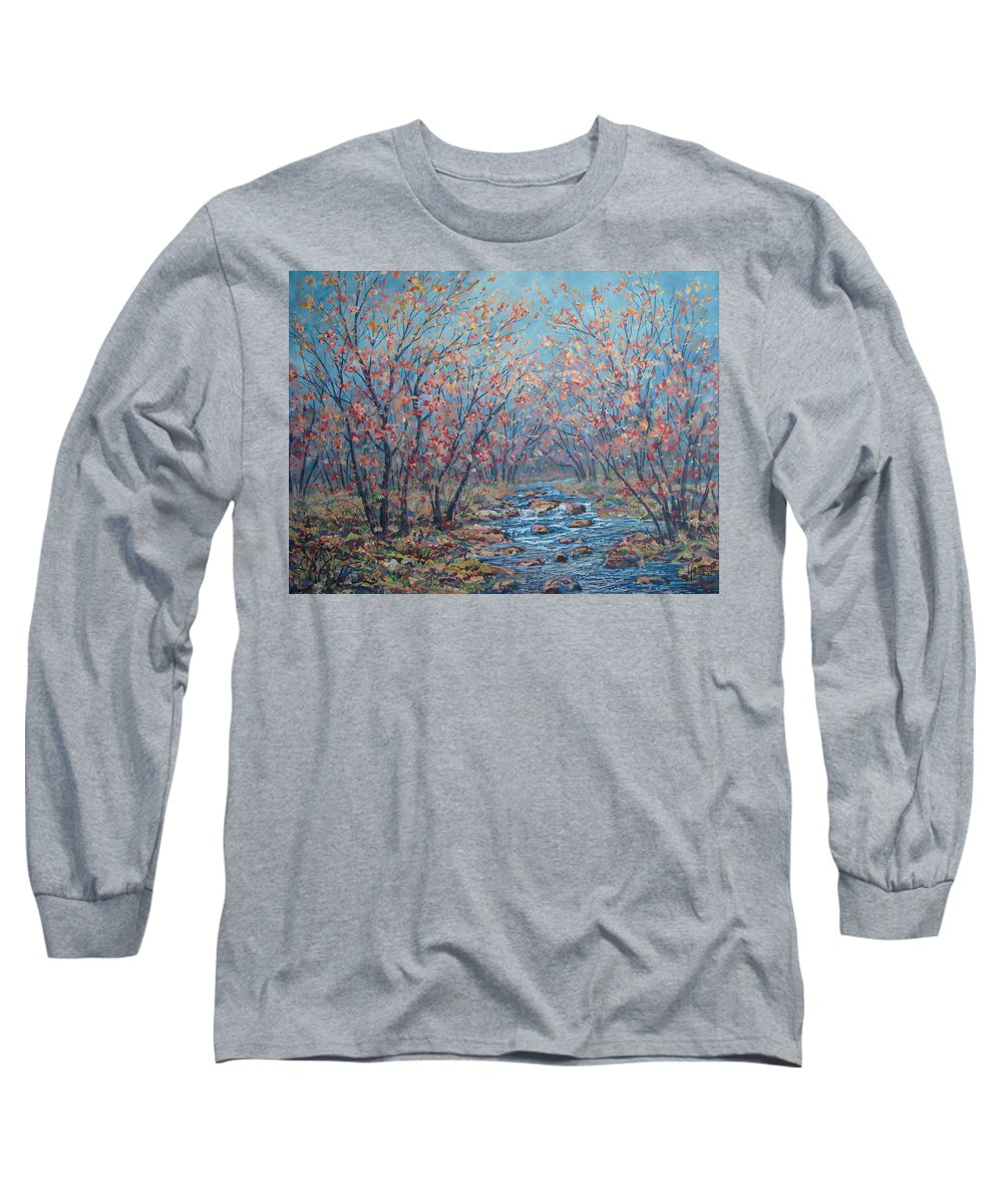 Landscape Long Sleeve T-Shirt featuring the painting Autumn Serenity by Leonard Holland