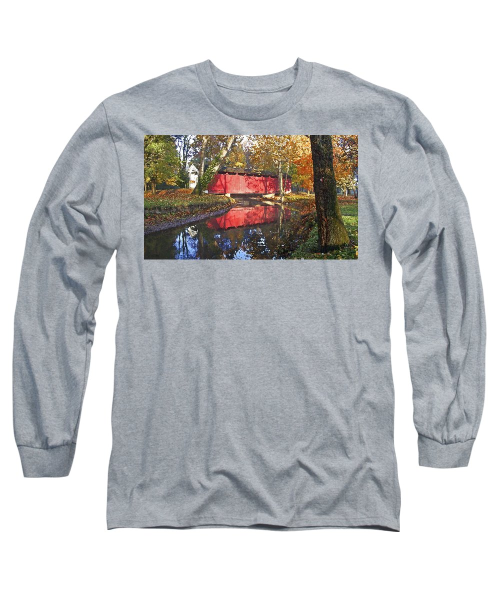 Covered Bridge Long Sleeve T-Shirt featuring the photograph Autumn Sunrise Bridge by Margie Wildblood