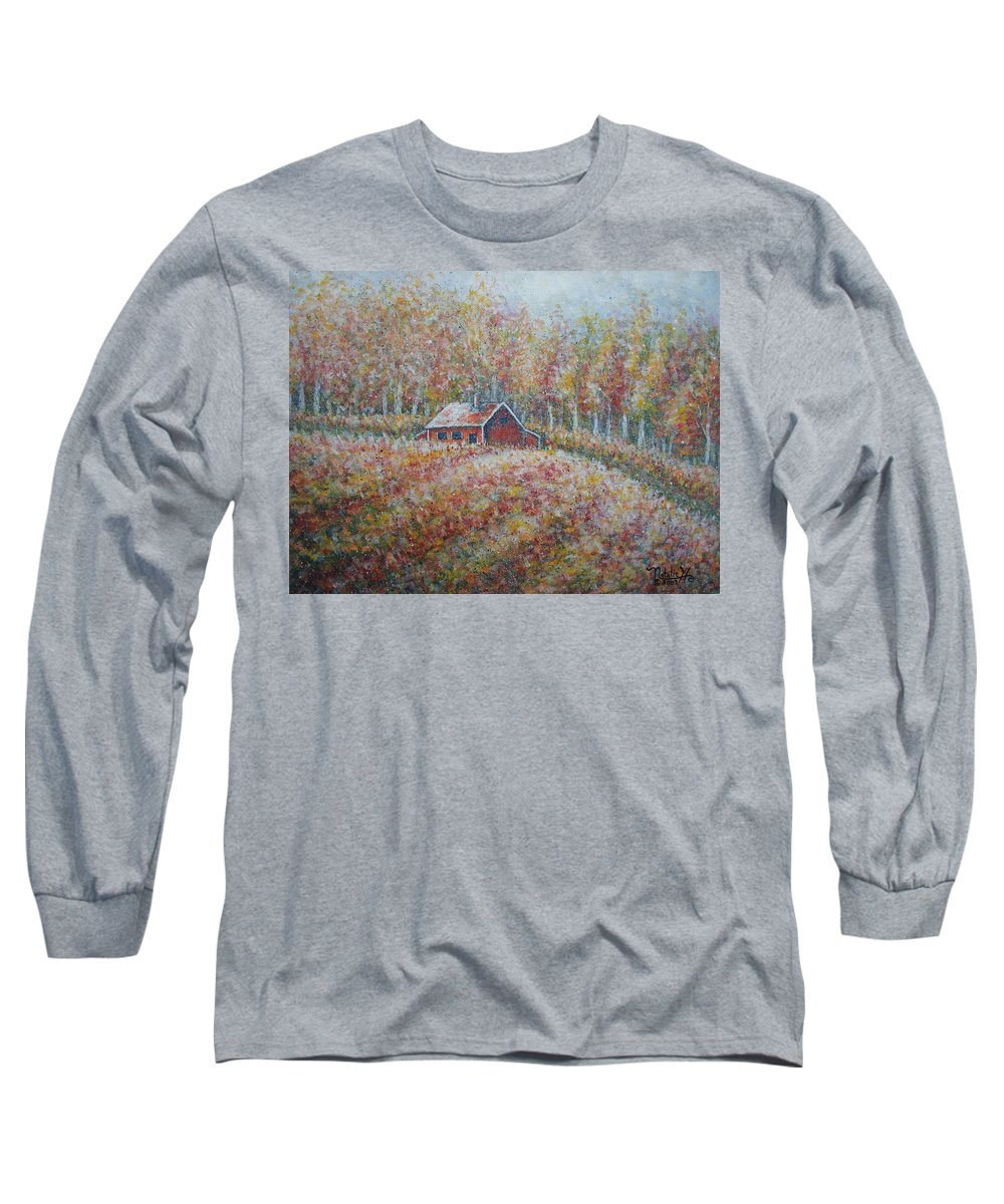Landscape Long Sleeve T-Shirt featuring the painting Autumn Whisper. by Natalie Holland