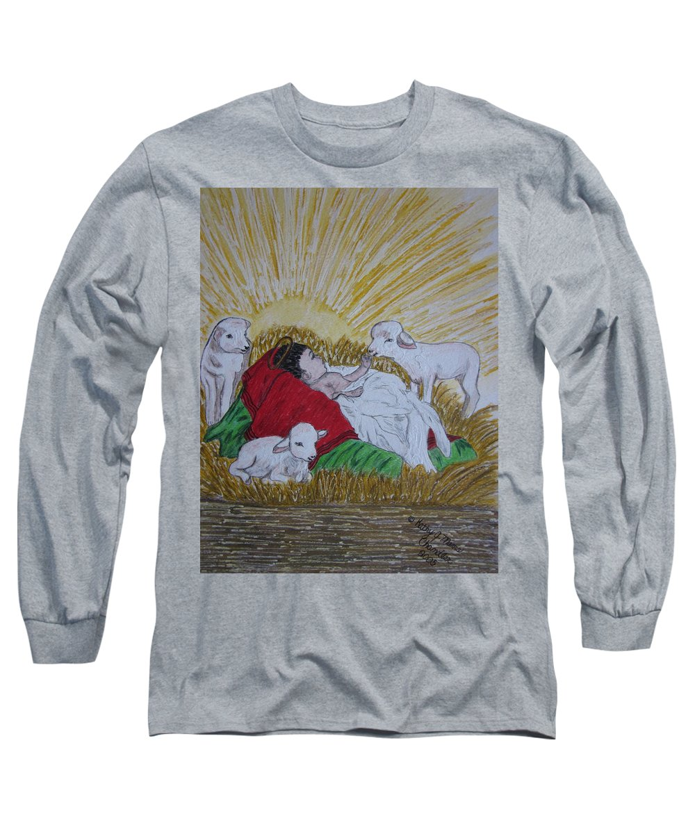 Saviour Long Sleeve T-Shirt featuring the painting Baby Jesus At Birth by Kathy Marrs Chandler