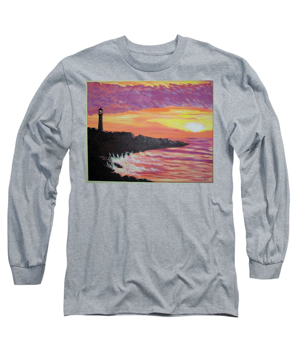 Seascape Long Sleeve T-Shirt featuring the painting Bahia At Sunset by Marco Morales