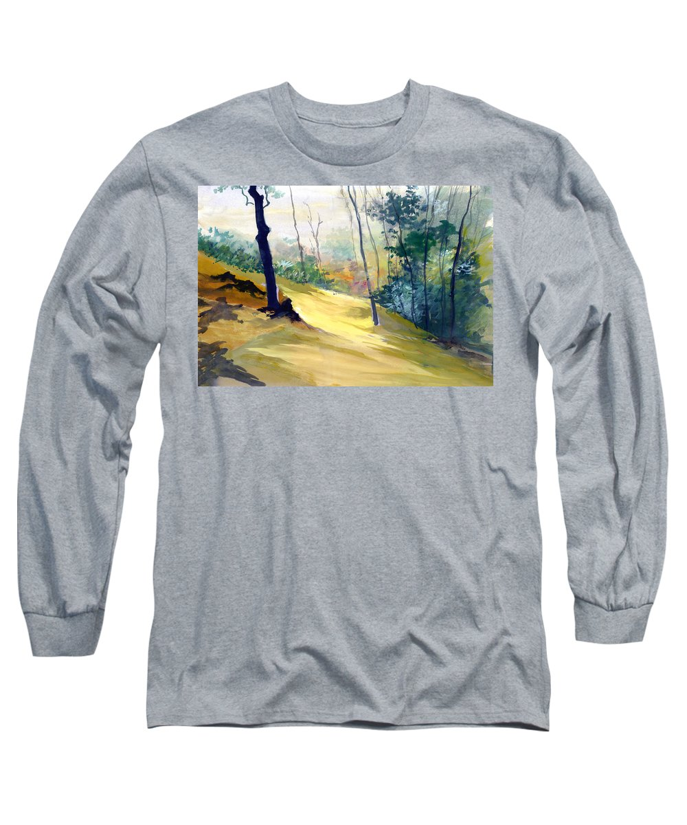 Landscape Long Sleeve T-Shirt featuring the painting Balance by Anil Nene