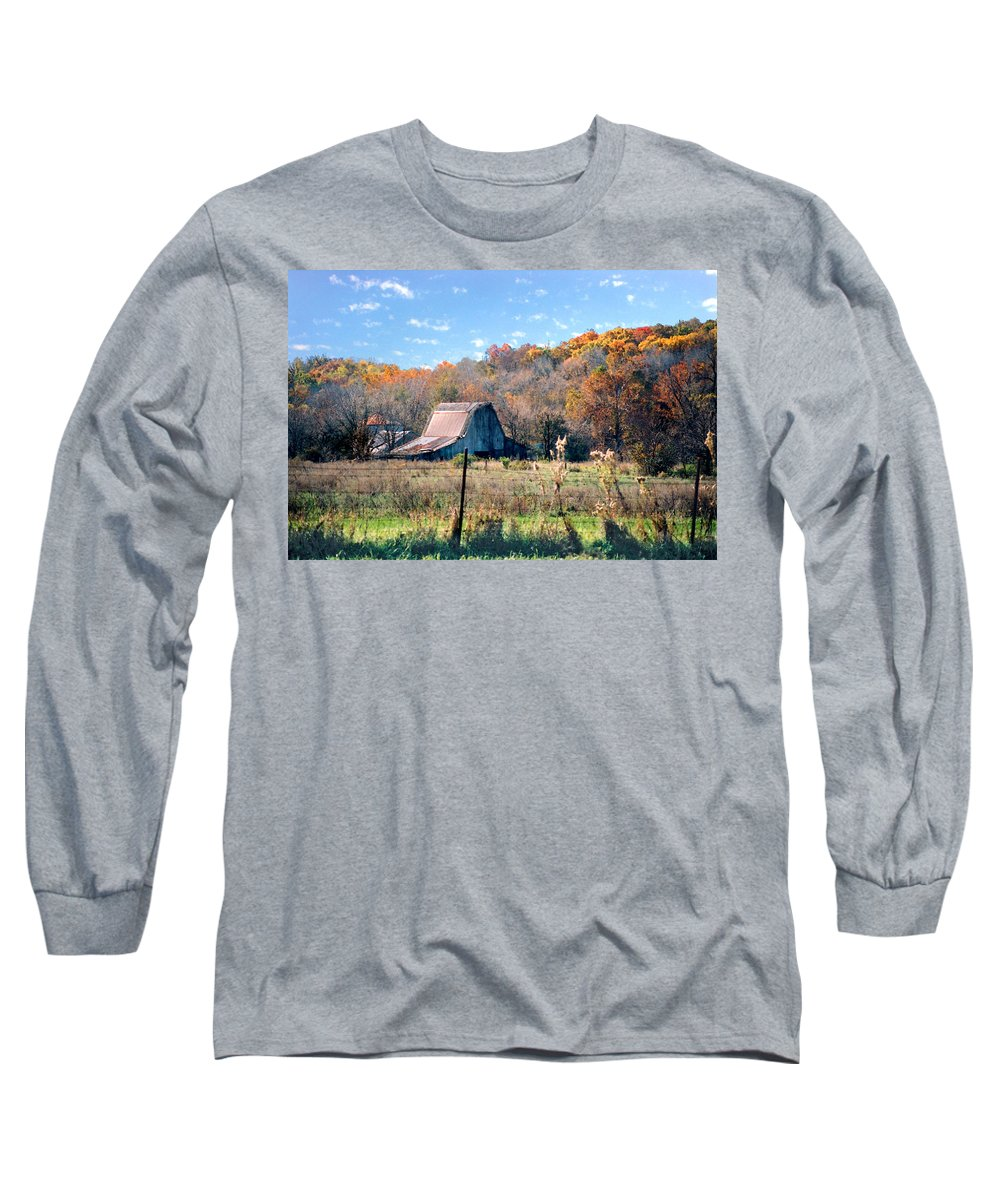 Landscape Long Sleeve T-Shirt featuring the photograph Barn In Liberty Mo by Steve Karol