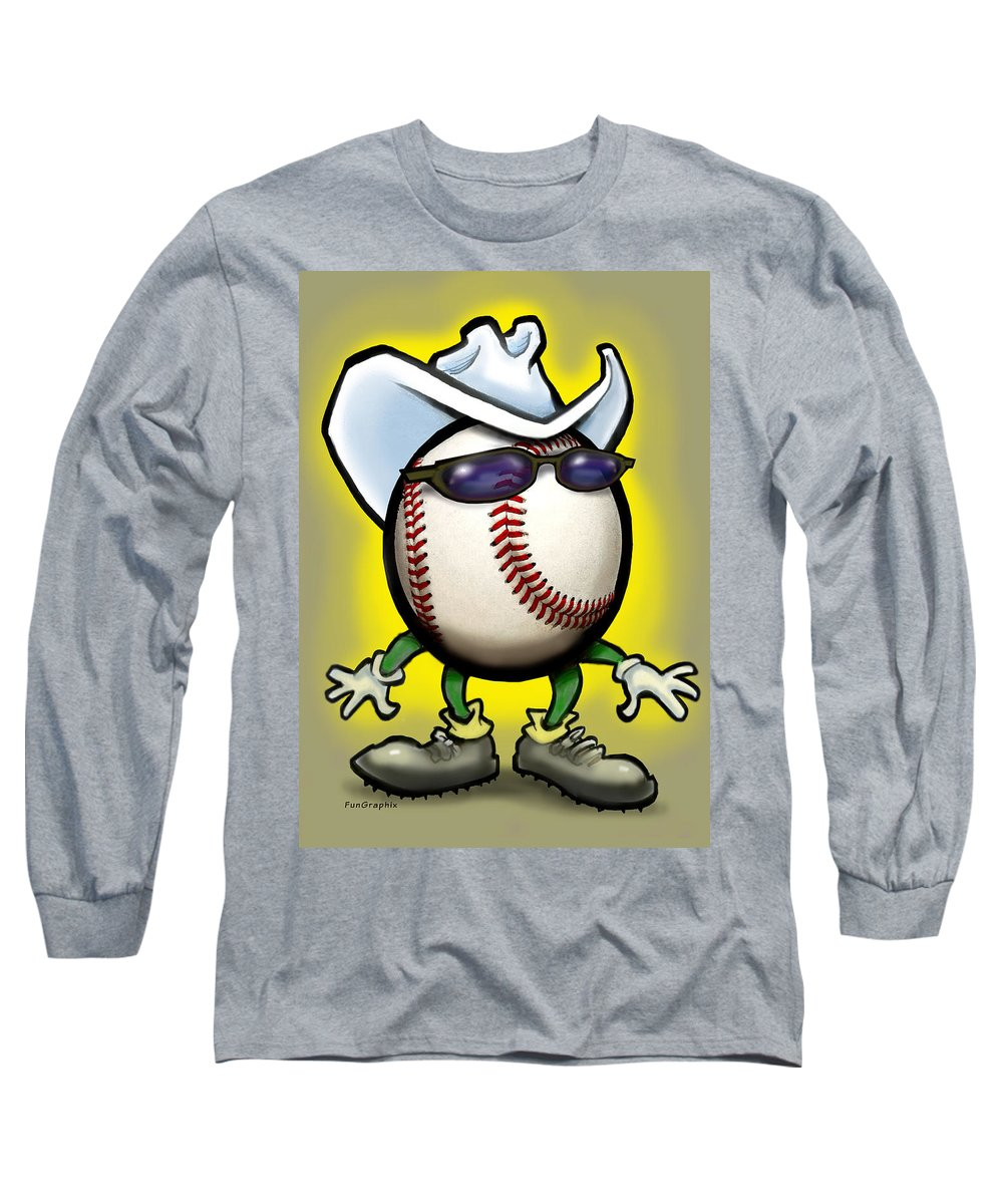 Baseball Long Sleeve T-Shirt featuring the greeting card Baseball Cowboy by Kevin Middleton