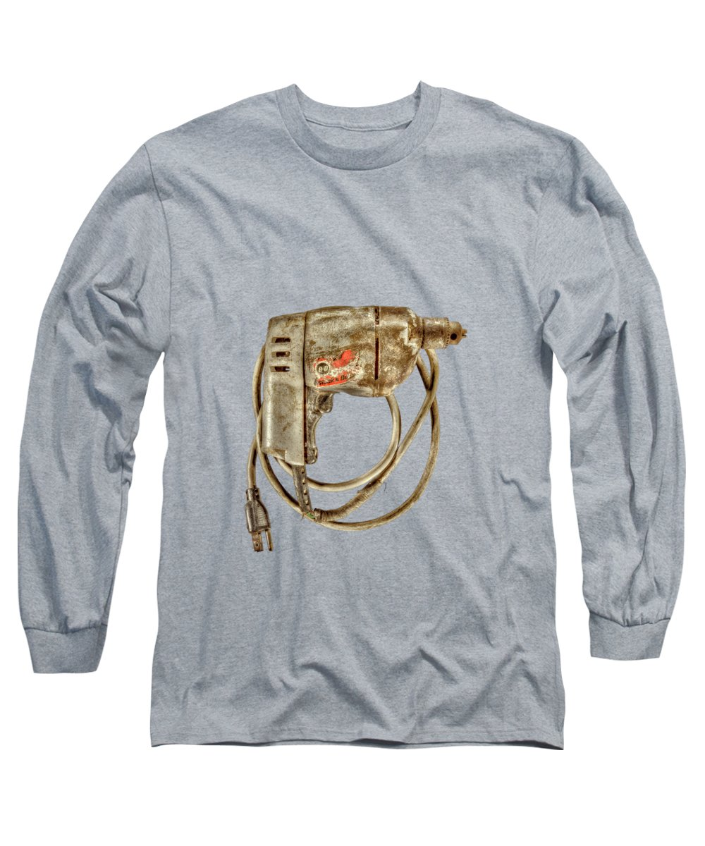 Antique Long Sleeve T-Shirt featuring the photograph Bd Drill Motor On Black by YoPedro