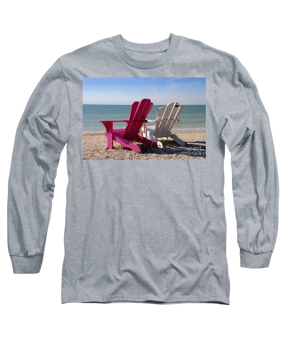 Beach Chairs Long Sleeve T-Shirt featuring the photograph Beach Chairs by David Lee Thompson