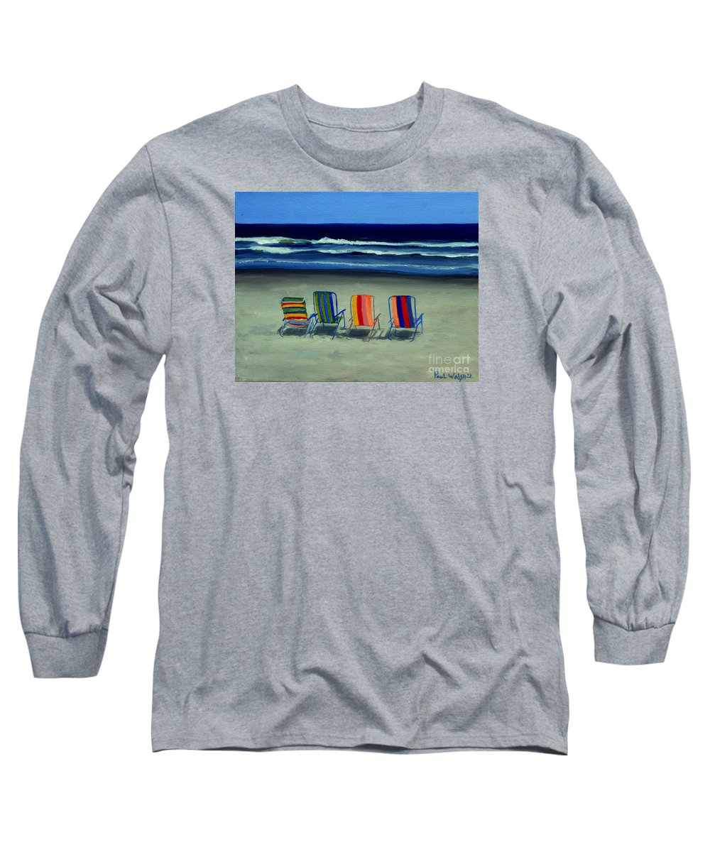 Beach Long Sleeve T-Shirt featuring the painting Beach Chairs by Paul Walsh