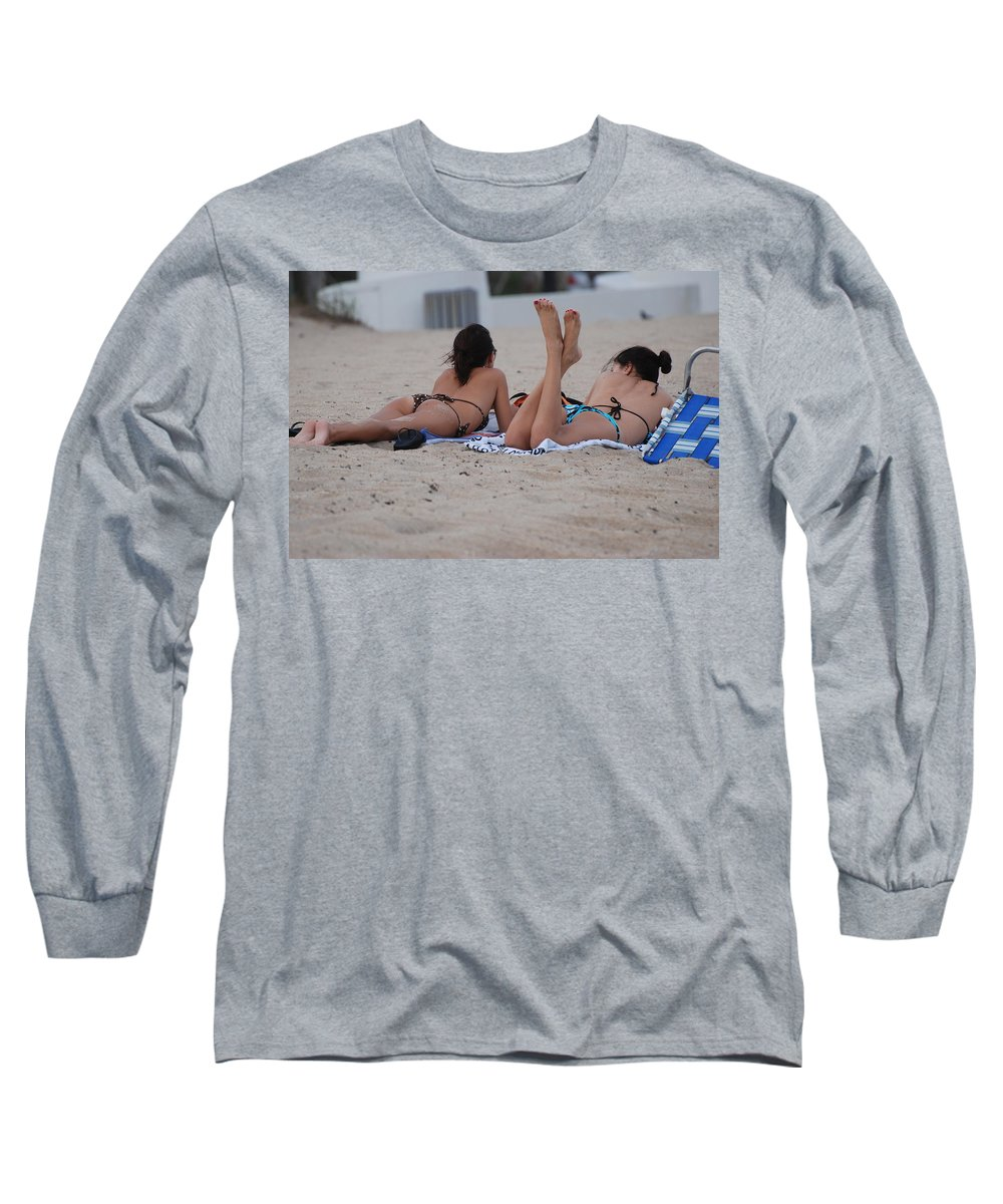 Girls Long Sleeve T-Shirt featuring the photograph Beach Combers by Rob Hans