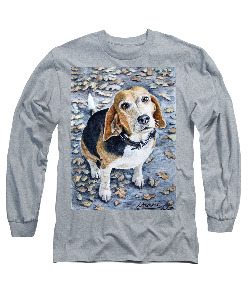 Dog Long Sleeve T-Shirt featuring the painting Beagle Nanni by Nicole Zeug