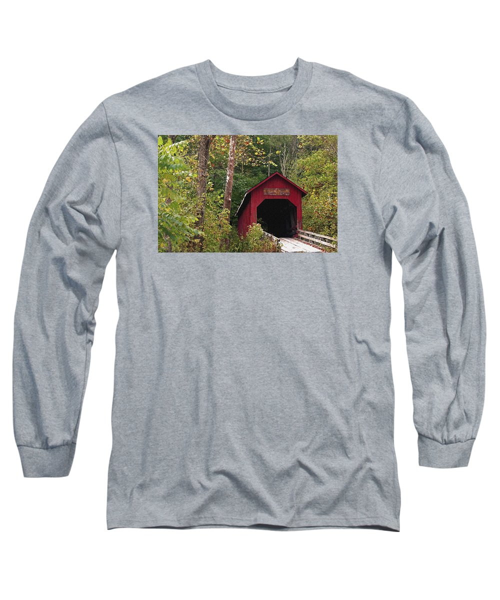 Covered Bridge Long Sleeve T-Shirt featuring the photograph Bean Blossom Bridge I by Margie Wildblood