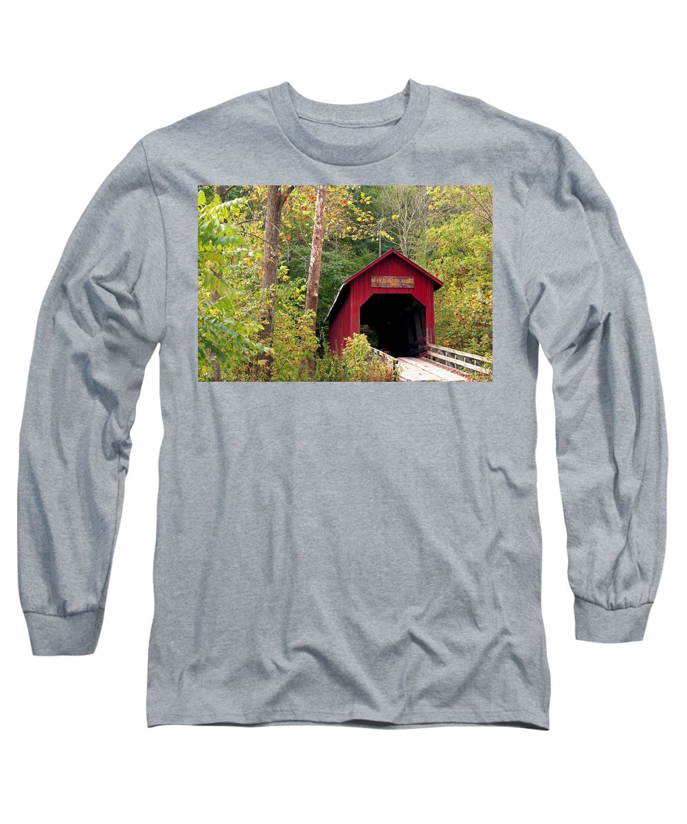 Covered Bridge Long Sleeve T-Shirt featuring the photograph Bean Blossom Bridge II by Margie Wildblood