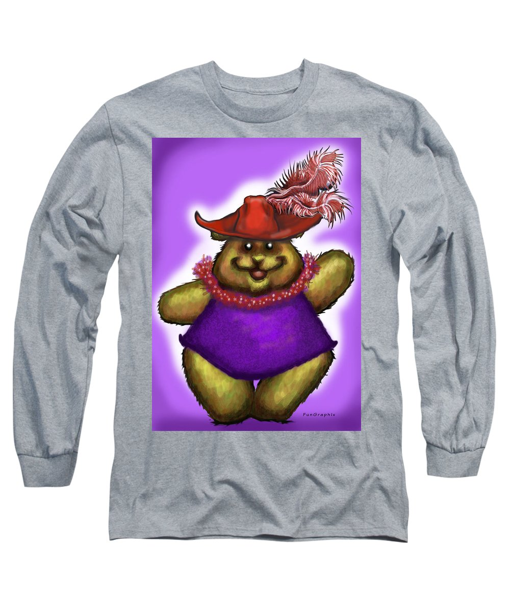 Red Hat Long Sleeve T-Shirt featuring the greeting card Bear In Red Hat by Kevin Middleton