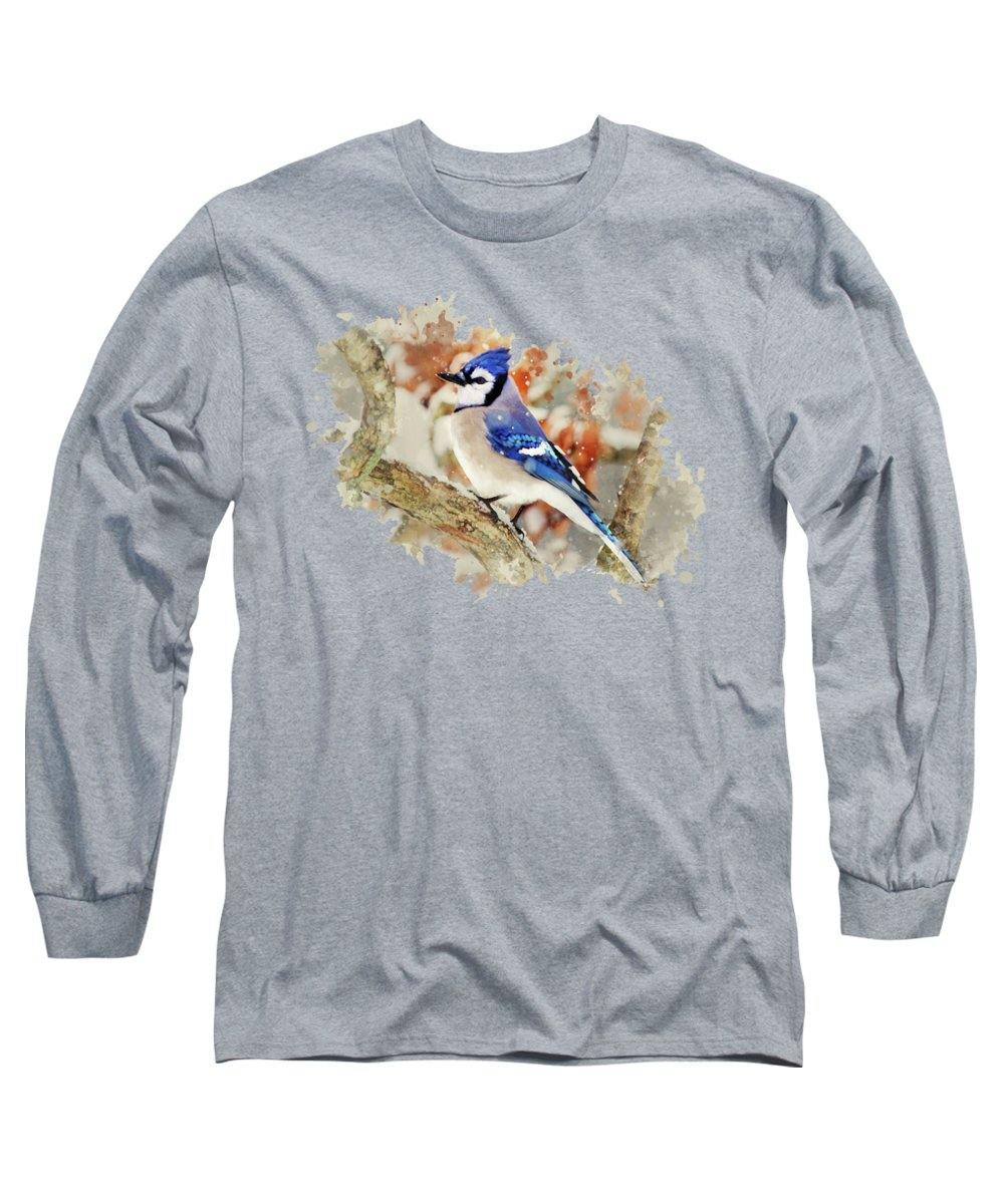 Blue Jay Long Sleeve T-Shirt featuring the mixed media Beautiful Blue Jay - Watercolor Art by Christina Rollo
