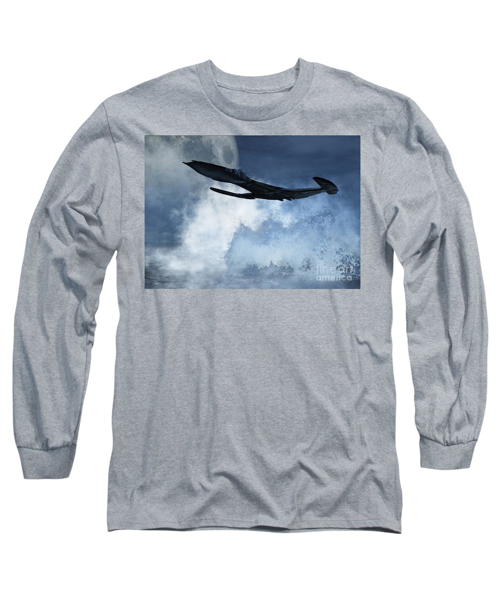 Flight Long Sleeve T-Shirt featuring the digital art Below Radar by Richard Rizzo