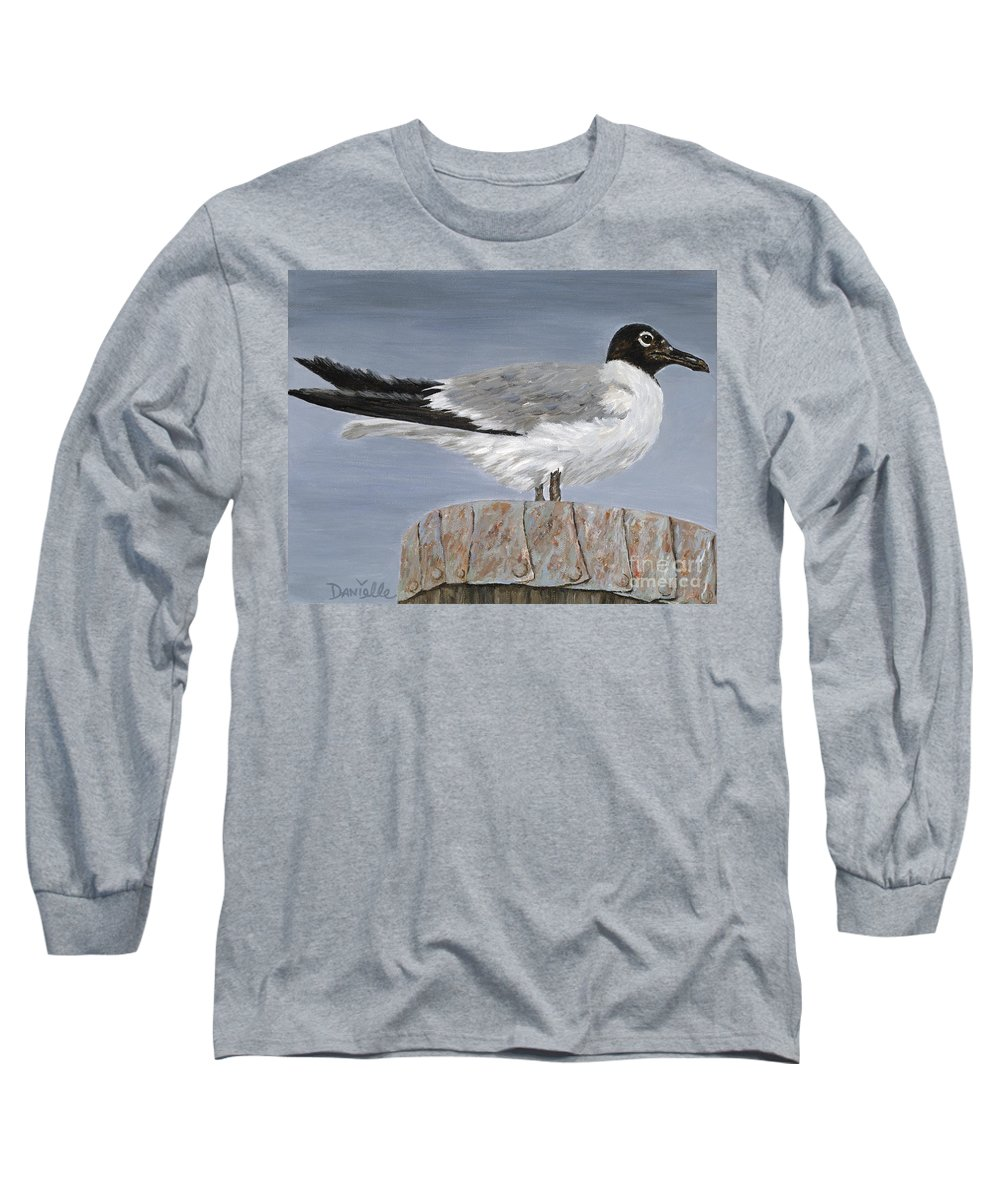 Seagull Long Sleeve T-Shirt featuring the painting Bimini Gull by Danielle Perry