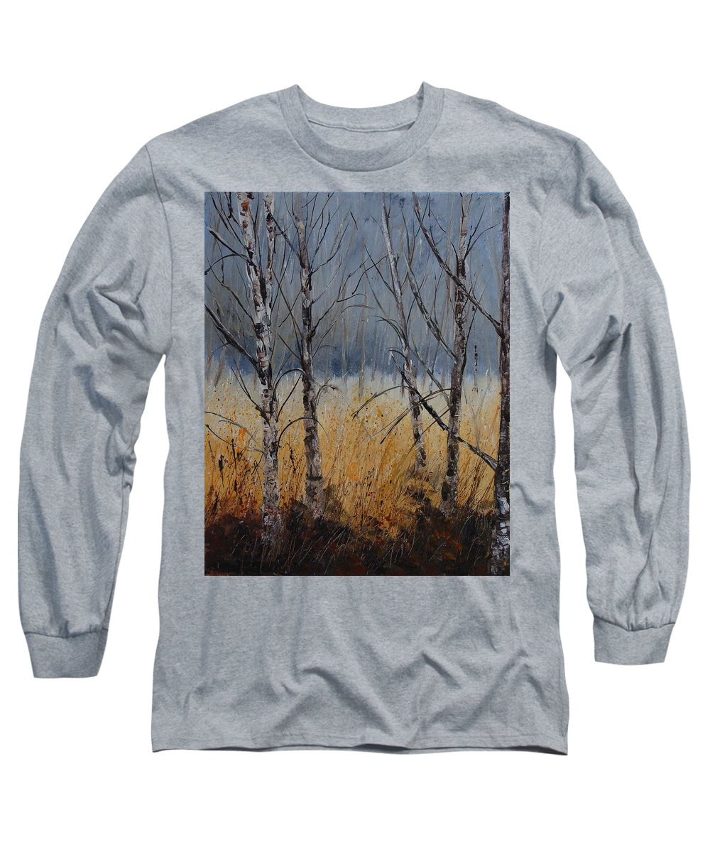 Winter Long Sleeve T-Shirt featuring the painting Birch Trees by Pol Ledent