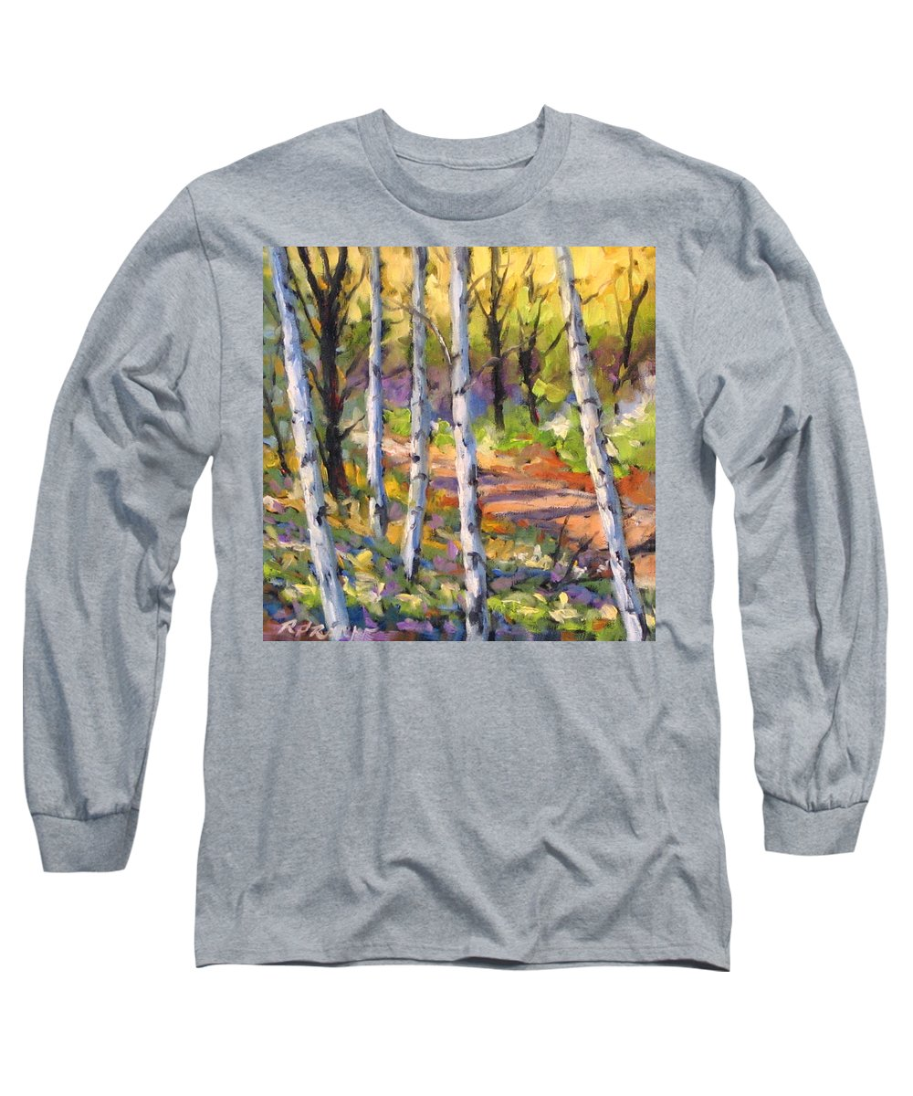 Art Long Sleeve T-Shirt featuring the painting Birches 02 by Richard T Pranke