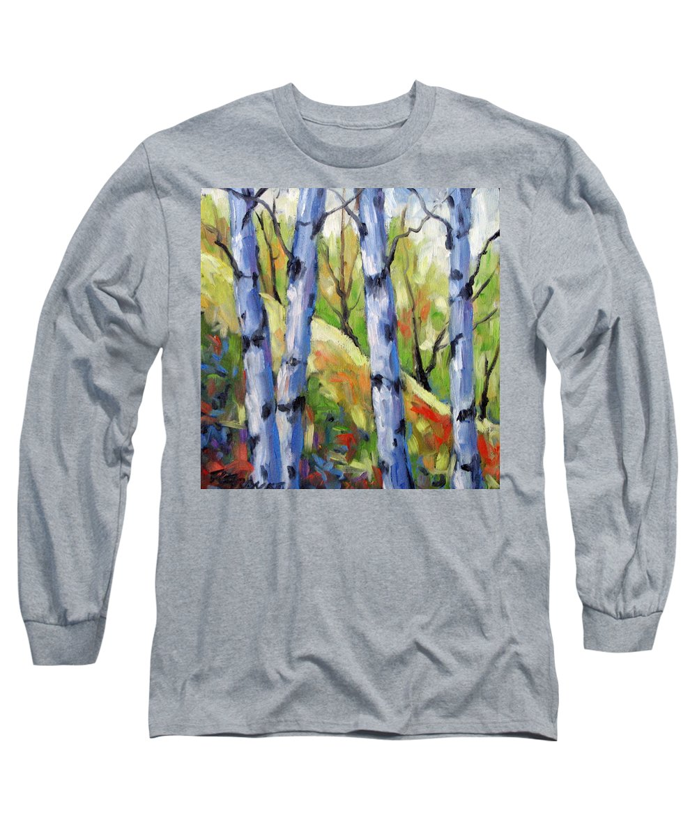 Art Long Sleeve T-Shirt featuring the painting Birches 09 by Richard T Pranke