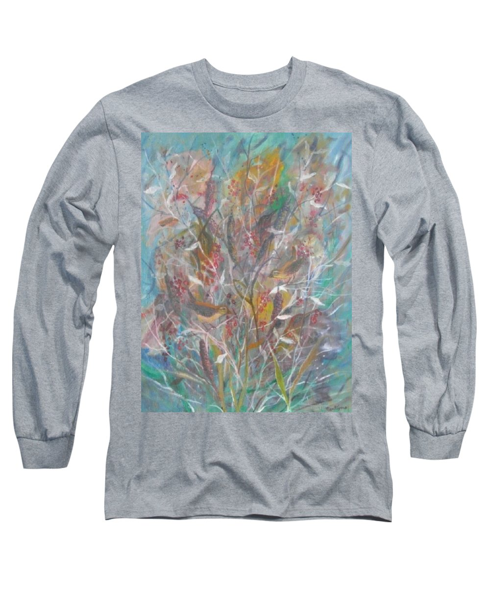 Birds Long Sleeve T-Shirt featuring the painting Birds In A Bush by Ben Kiger