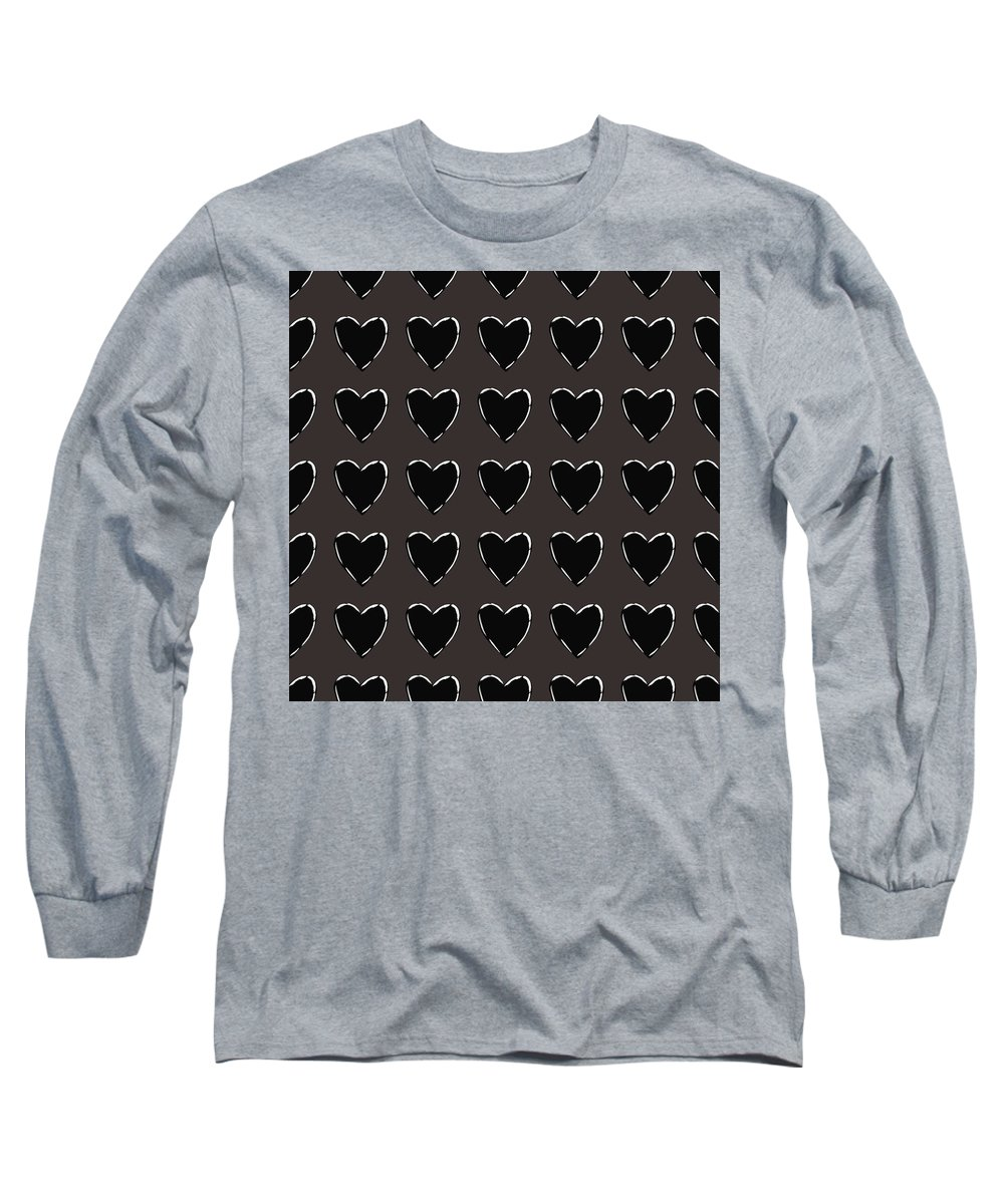 Hearts Long Sleeve T-Shirt featuring the mixed media Black And White Hearts 1- Art By Linda Woods by Linda Woods