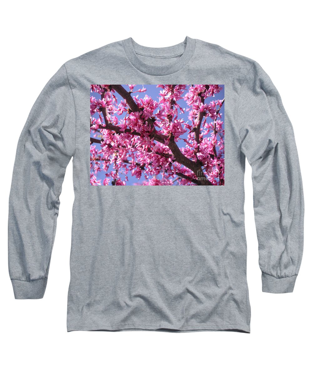 Nature Long Sleeve T-Shirt featuring the photograph Blooming Red Buds by Lucyna A M Green