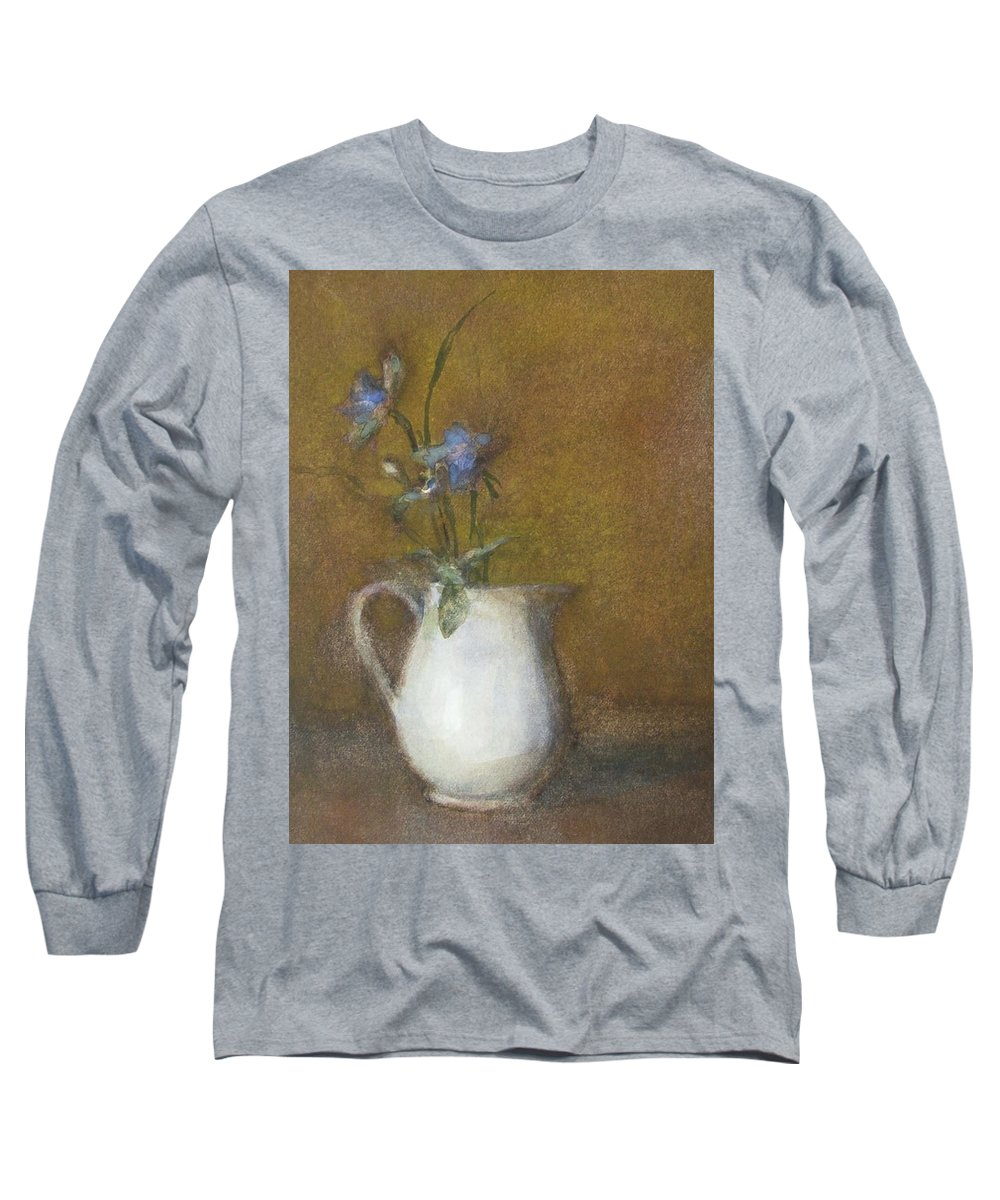 Floral Still Life Long Sleeve T-Shirt featuring the painting Blue Flower by Joan DaGradi