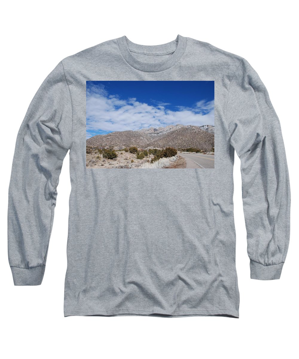 Sandia Mountains Long Sleeve T-Shirt featuring the photograph Blue Skys Over The Sandias by Rob Hans