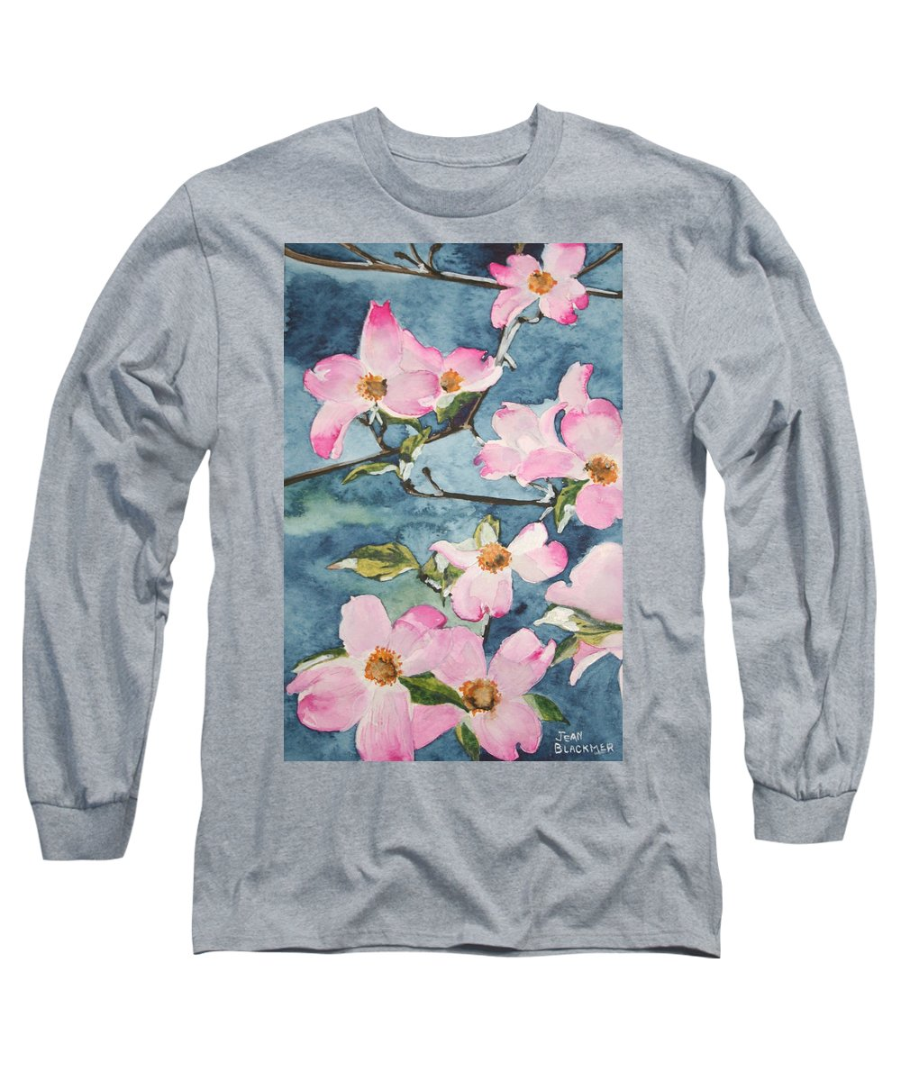 Flowers Long Sleeve T-Shirt featuring the painting Blushing Prettily by Jean Blackmer