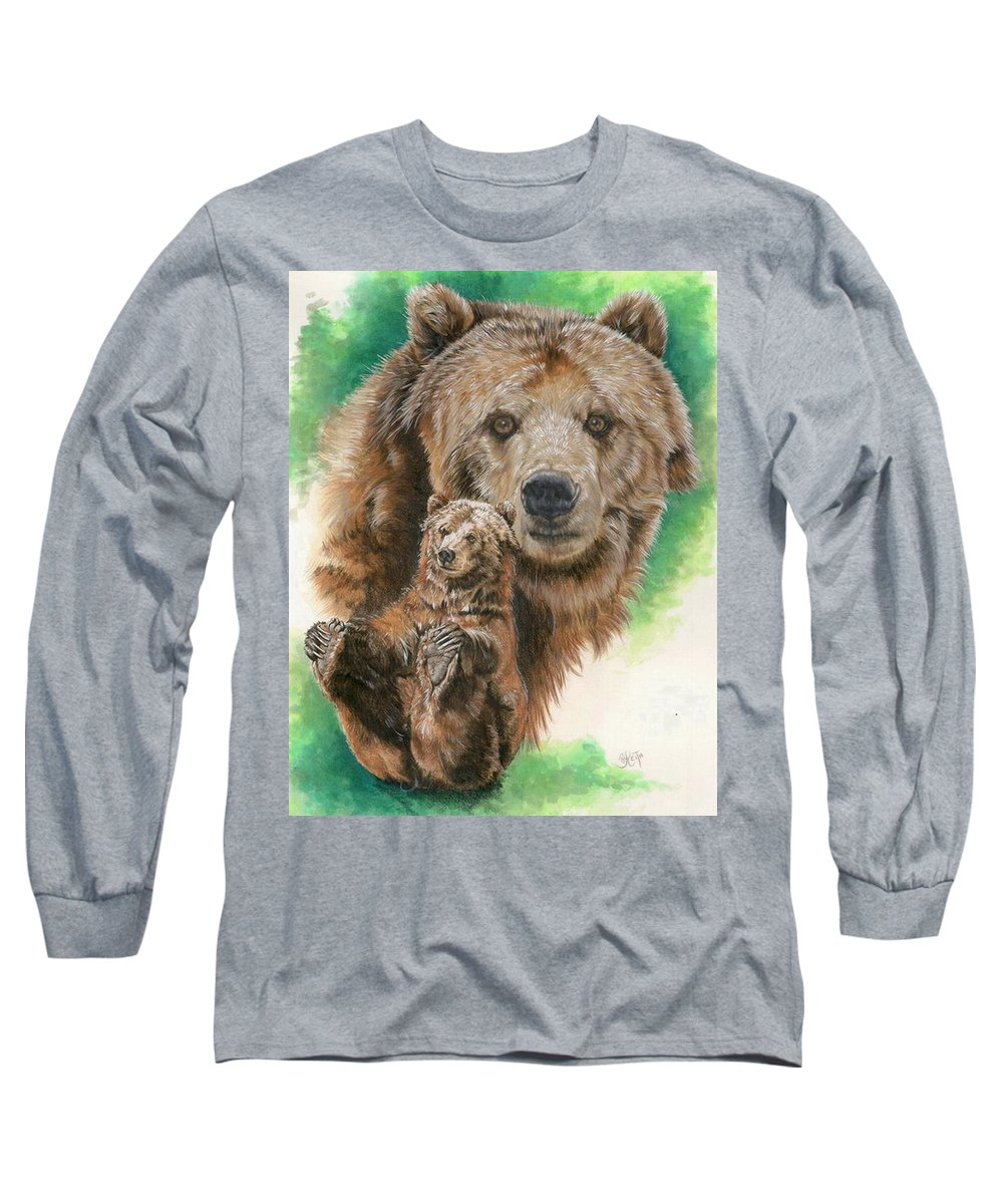 Bear Long Sleeve T-Shirt featuring the mixed media Brawny by Barbara Keith