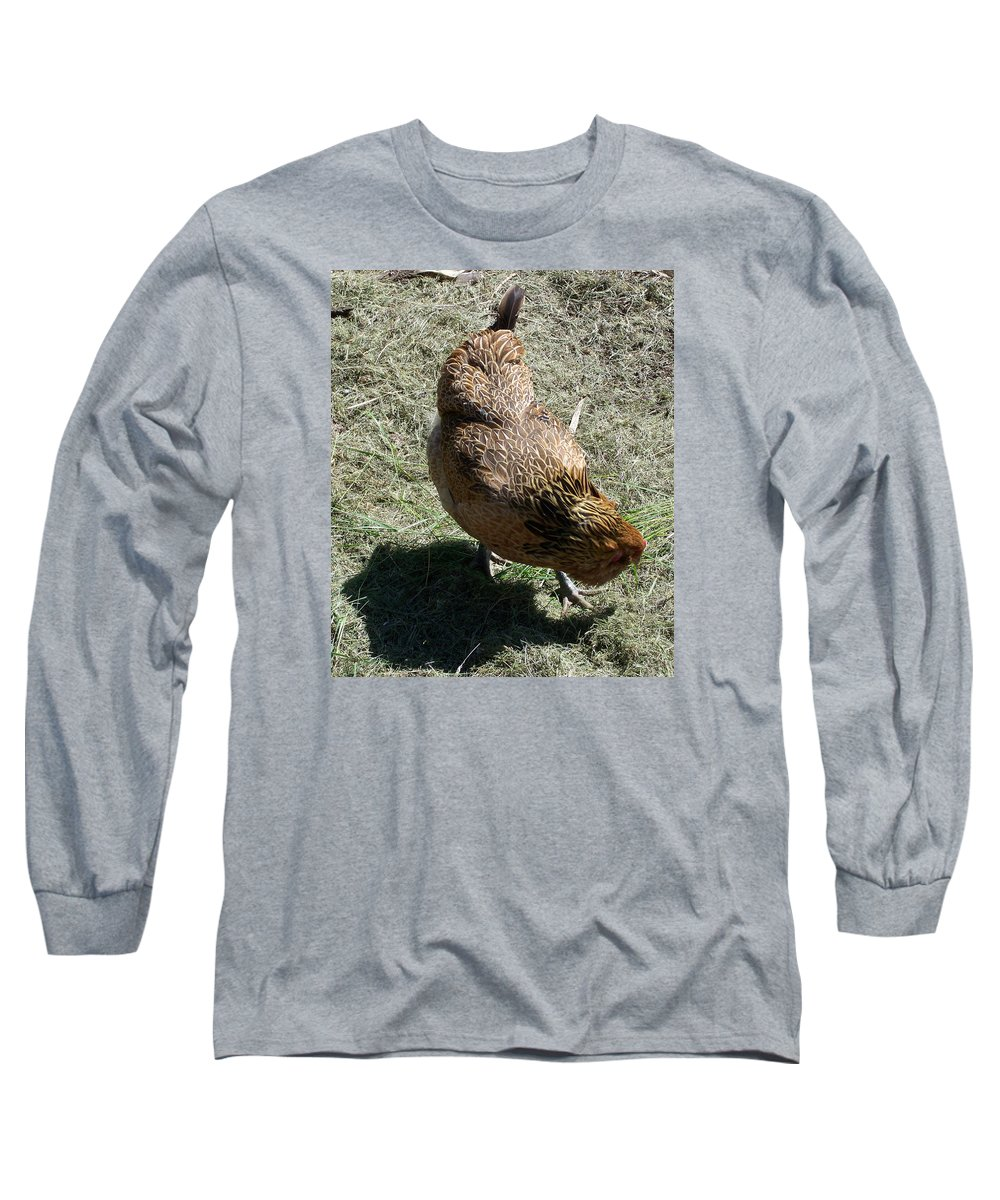 Hen Long Sleeve T-Shirt featuring the photograph Brownie The Hen by Laurie Kidd