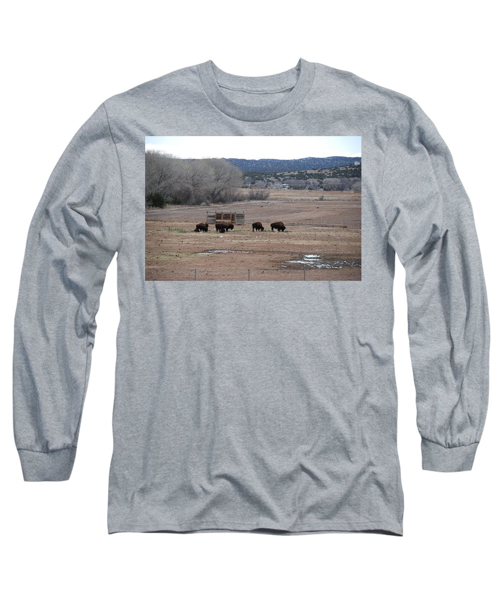 Buffalo Long Sleeve T-Shirt featuring the photograph Buffalo New Mexico by Rob Hans