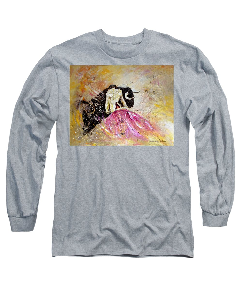 Animals Long Sleeve T-Shirt featuring the painting Bullfight 74 by Miki De Goodaboom
