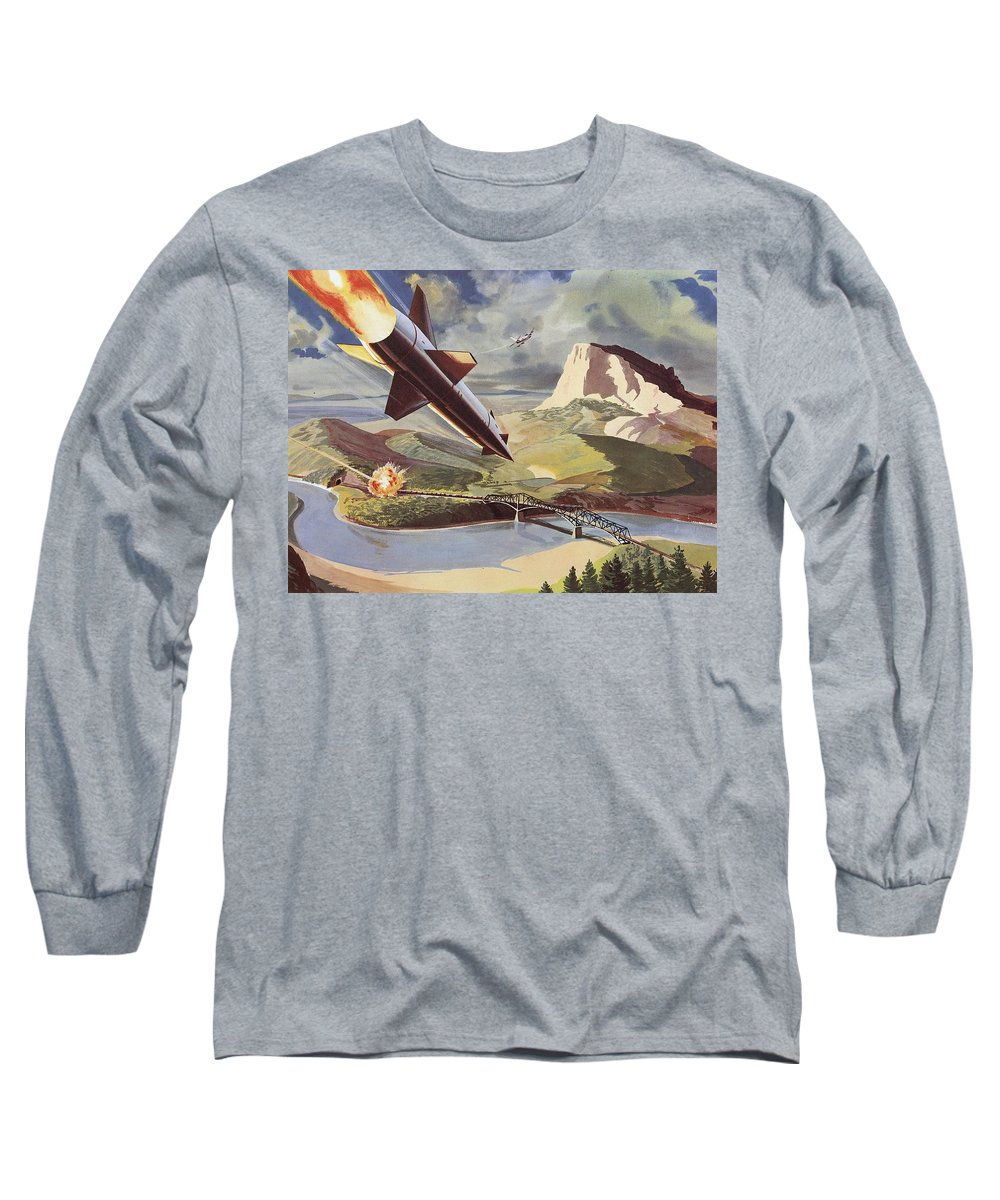 Bullpup Air To Surface Missile Long Sleeve T-Shirt featuring the painting Bullpup Air To Surface Missile by American School