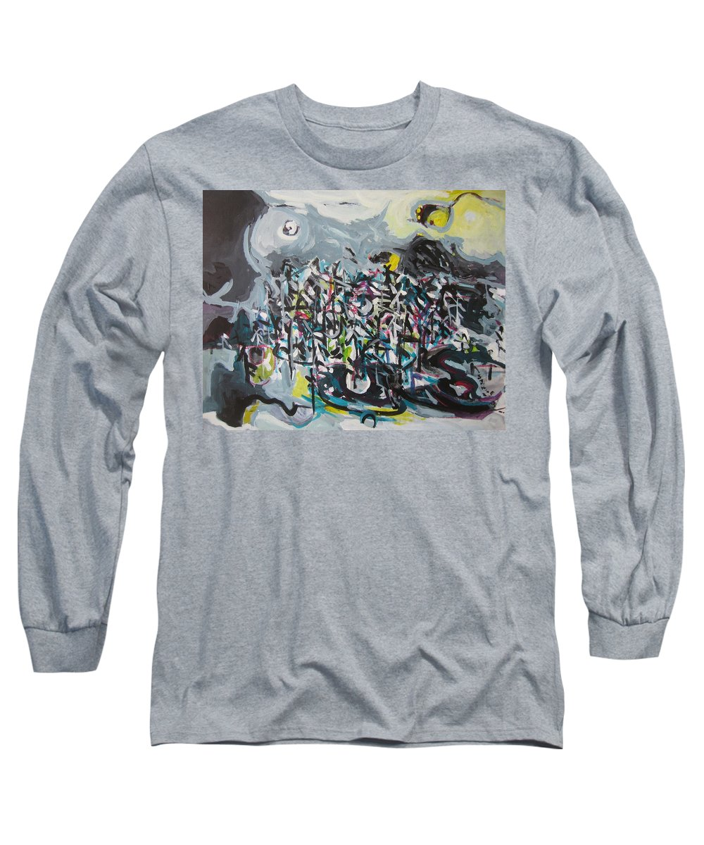 Abstract Paintings Long Sleeve T-Shirt featuring the painting Bummer Flat11 by Seon-Jeong Kim