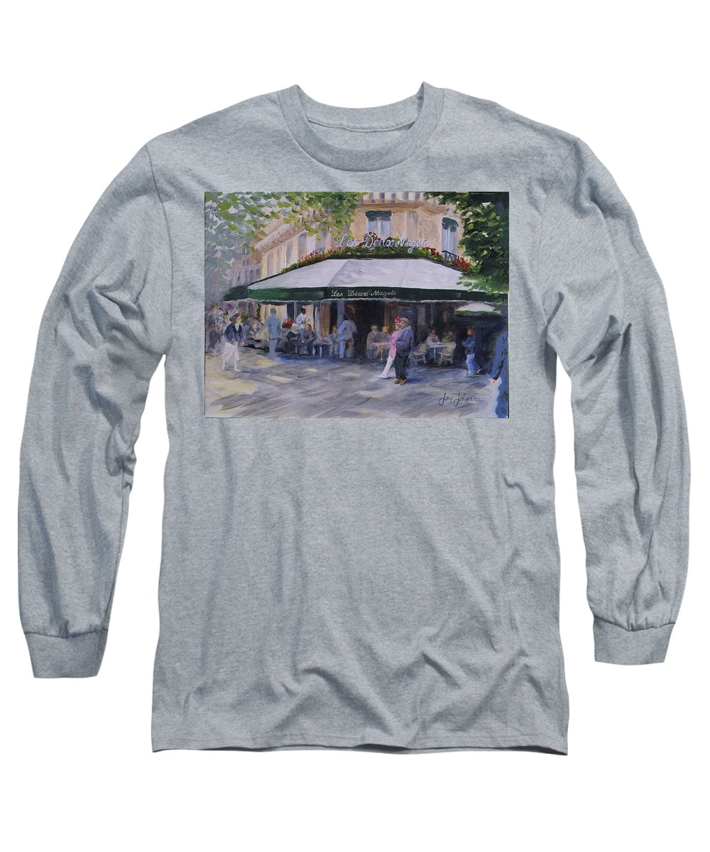 Cafe Magots Long Sleeve T-Shirt featuring the painting Cafe Magots by Jay Johnson